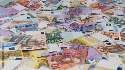 Euro notes, background, side view, money texture,16:9 ratio
