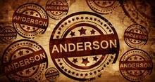 Anderson, Vintage Stamp On Paper Background