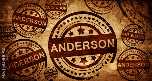Photo anderson, vintage stamp on paper background