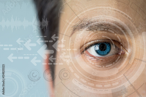 Fotografie, Obraz  young man's eye and technology concept, smart contact lens display, Iris verific