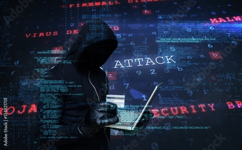 Fotomural  Composite image of hacker holding laptop and credir card