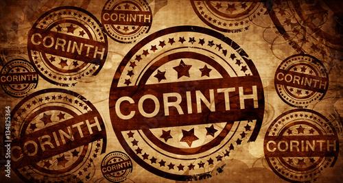 Valokuva  corinth, vintage stamp on paper background