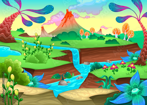 Recess Fitting kids room Funny prehistoric landscape with river and volcanoes
