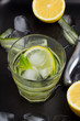 water, cucumber, lemon and ice