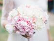 canvas print picture - wedding bouquet with white roses and hydrangea