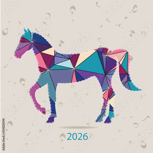 Poster  Happy new year 2026 creative greeting card with Horse made of triangles