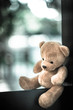 bear doll on the table with dramatic tone