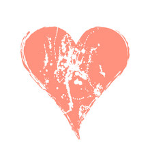 Vector Graphic Grunge Illustration Of Heart Sign With Ink Blot, Brush Strokes, Drops Isolated On The White Background. Series Of Artistic Illustration With Splash, Blots And Brush Strokes.