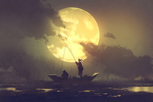 Silhouette Of Fishermen With Fishing Rod On Boat And Big Moon On Background,illustration Painting
