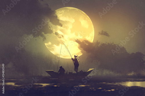 Poster Peche silhouette of fishermen with fishing rod on boat and big moon on background,illustration painting
