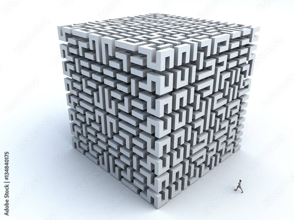 Fototapety, obrazy: 3D Illustration of a woman about to enter a 3D maze