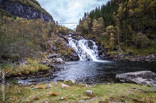 Norwegen Fjord, Wasserfall, River Poster
