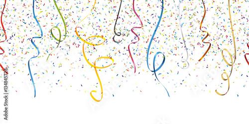 Fototapeta seamless confetti and streamer party background obraz na płótnie