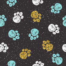 Doodle Dog Paw Background. Gold, Blue And White Abstract Paw Tra