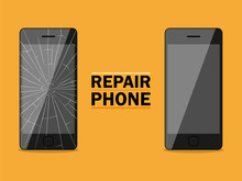 Phone Repairs Flat Design Sign. Vector Illustration For Advertis