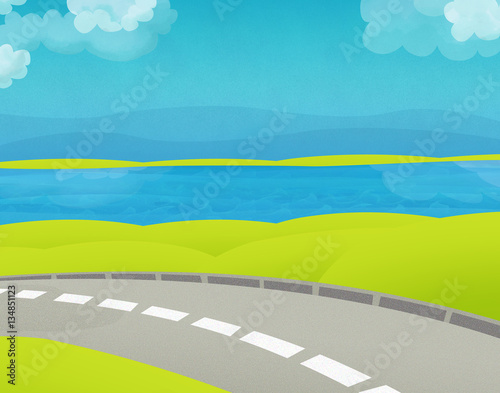 Photo Stands Turquoise Cartoon empty stage of a street near water - illustration for children