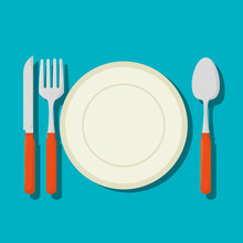 Dish With Cutlery Isolated Icon Vector Illustration Design