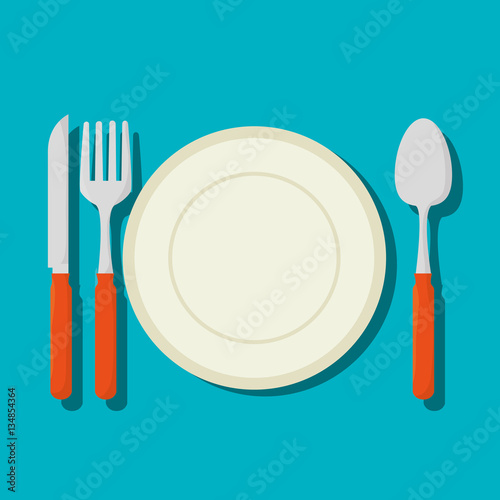 Fotografie, Obraz dish with cutlery isolated icon vector illustration design