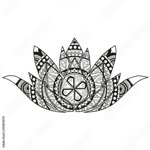 Vector Illustration Of A Lotus Flower Mandala For Coloring Book