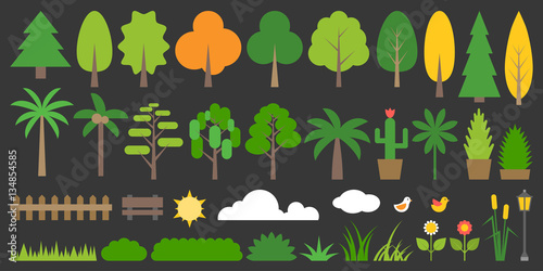 Big Set Of Graphic Info Element Of Forest Plant And Tree In Flat