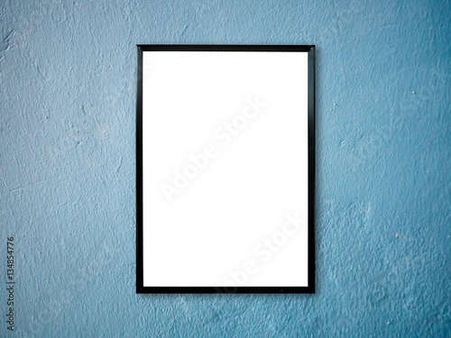 poster frame on blue paint wall background - Buy this stock photo ...