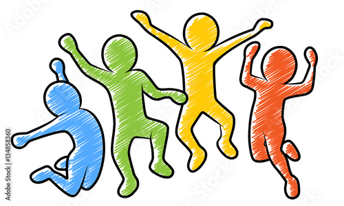 Valokuva  Farbige Strichmännchen beim Freudensprung / Vektor, schraffiert, freigestellt