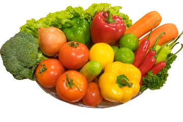 Vegetable in  Basket on white background.