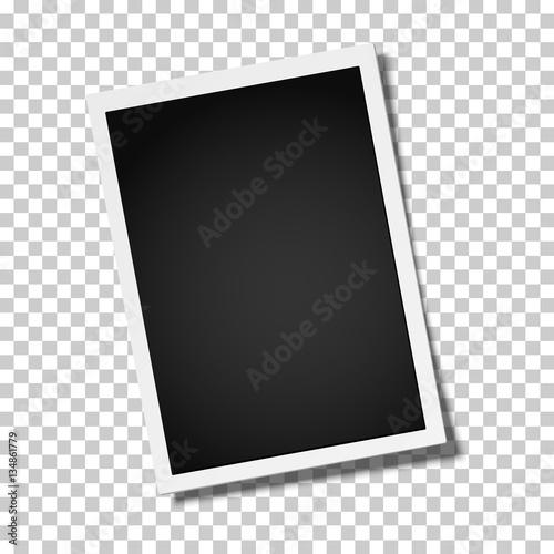 Fototapeta Realistic retro photo frame placed vertically slightly tilted obraz na płótnie