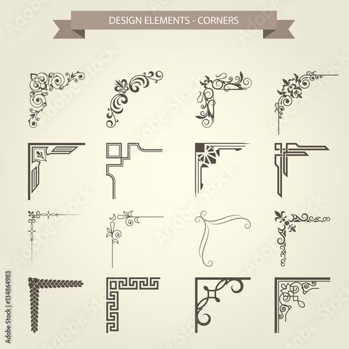 Fotografía  Vintage corner vignettes set - frame border flourish pattern
