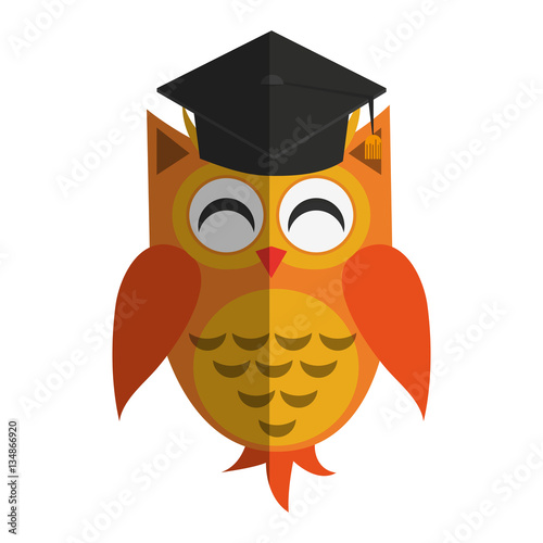 Photo Stands owl cartoon with graduation cap over white background. colorful design. vector illustration