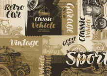 Retro Car. Vintage Poster Or Banner. Vector Illustration