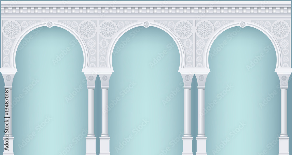 Fototapety, obrazy: Palace Arcade in an old oriental style. Facade of a classical building. Vector graphics