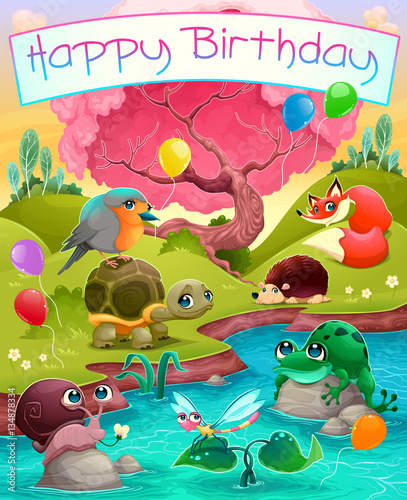 Staande foto Kinderkamer Happy Birthday card with cute animals in the countryside