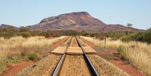 Straight Railroad Track In The Australian Desert