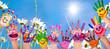 canvas print picture - Glücklich sein: Hände spielender Kinder vor Blumenwiese :)
