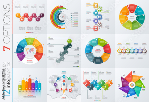 Fotografia  Collection of 12 vector templates for infographics with 7 options for presentati