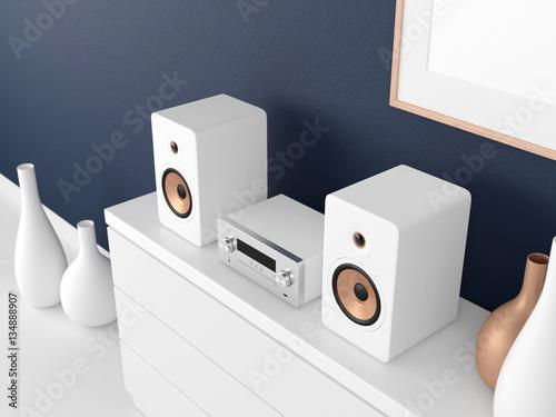 Fotografía  Micro Hi Fi stereo system Mockup on bureau in modern interior, Network receiver,