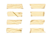 Masking Tape. Collection Of Various Adhesive Tape Pieces On White Background. Each One Is Shot Separately, Including Clipping Path