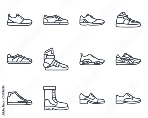 Photo Sneakers Shoes Line Icon