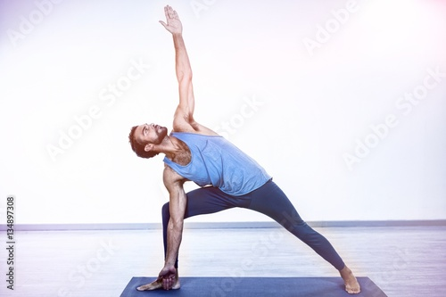 Recess Fitting Yoga school Man performing yoga