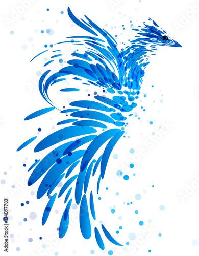 mityczny-niebieski-ptak-na-bialym-tle