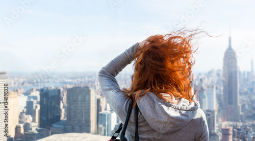 Woman looking at the cityscape