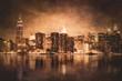 Vintage style New York City skyline of Manhattan with grunge texture
