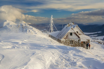 Winter mountain scenery in Bieszczady mountains, South Eastern Poland