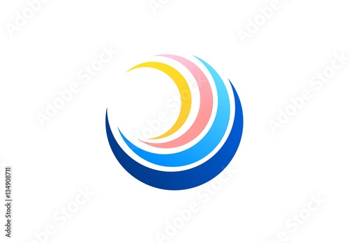 Circle Sphere Wave Logo Global Spiral Symbol Abstract Wind Twist