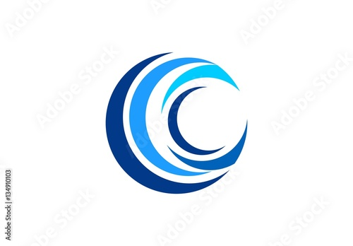 Circle Blue Wave Logo Swirl Waves Water Symbol Icon Letter C