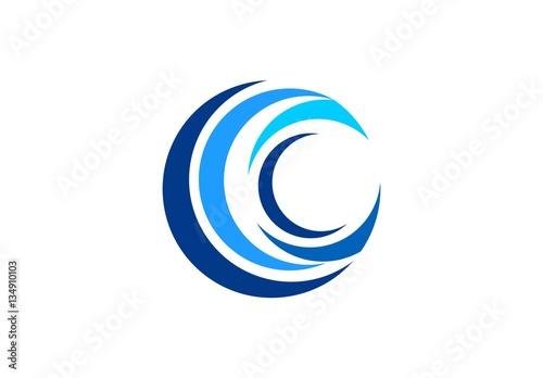 circle blue wave logo swirl waves water symbol icon letter c
