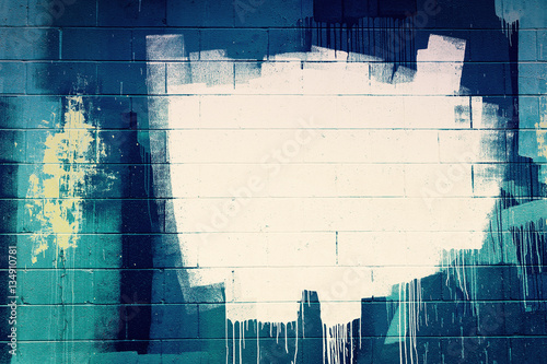 White paint stroke copyspace on a cement block wall. Urban Grung Canvas Print