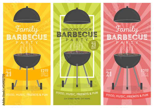 Fotografía  Lovely vector barbecue party invitation design template set