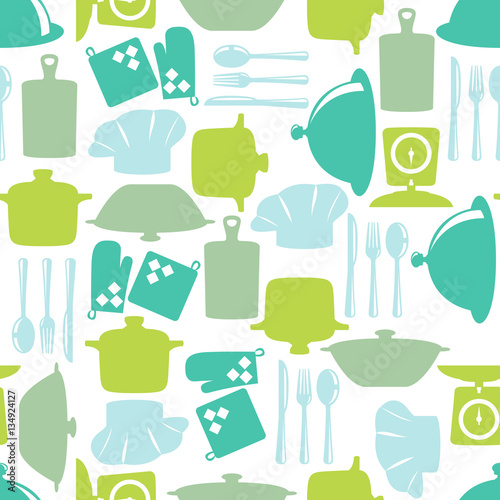 Tapeta do kuchni  seamless-pattern-with-kitchen-items-in-silhouette-style